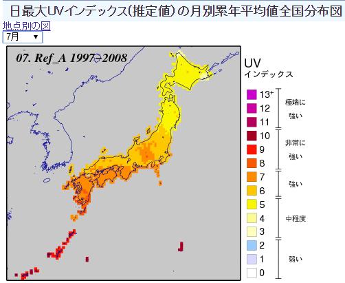 気象庁| 日最大UVインデックス 推定値)の月別累年平均値全国分布図