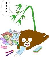 短冊に願いを込めるクマ