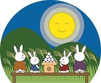 中秋の名月にお月見する画像