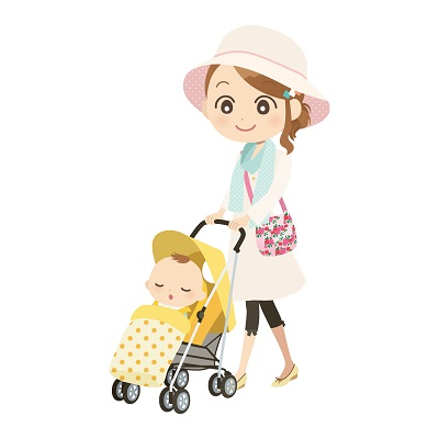 ベビーカーとママ