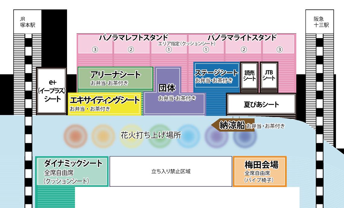 なにわ江戸川花火の協賛席表